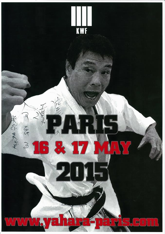 "Poster of the KWF Paris Mastercamp autographed by Yahara Shihan - ""Karate no michi ni inochi wo kakeru"""